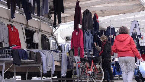 Pedestrian Traffic In The Clothing Market 6 stock footage