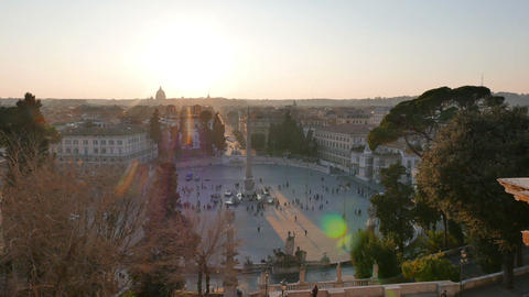 Piazza del Popolo at sunset. Rome, Italy. 1280x720 Stock Video Footage