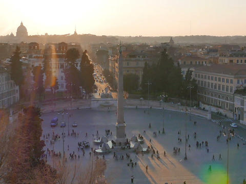 Piazza del Popolo at sunset. Zoom. Rome, Italy. 640x480 Stock Video Footage