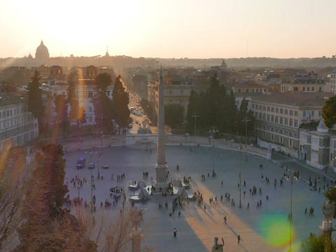 Piazza del Popolo at sunset. Zoom. Rome, Italy. 640x480 Footage