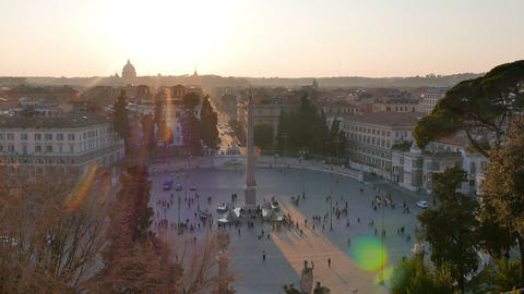 Piazza del Popolo at sunset. Zoom. Rome, Italy Stock Video Footage