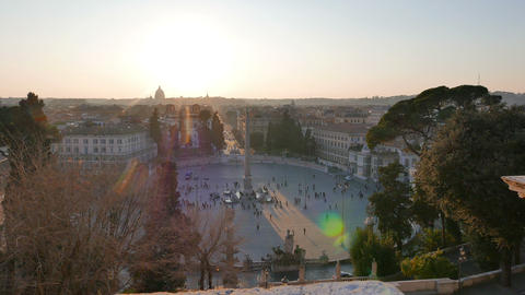 Piazza del Popolo at sunset. Rome, Italy. 4K Stock Video Footage
