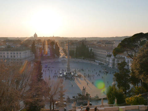 Piazza del Popolo at sunset. Panorama. Rome, Italy. 640x480 Stock Video Footage