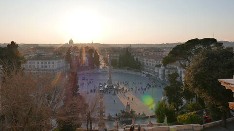 Piazza del Popolo at sunset. Panorama. Rome, Italy. 4K Footage