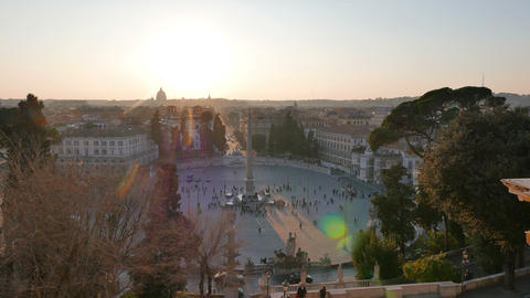 Piazza del Popolo at sunset. Panorama. Rome, Italy. 4K Stock Video Footage