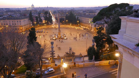 Piazza del Popolo at sunset. Twilight. Rome, Italy. 1280x720 Stock Video Footage