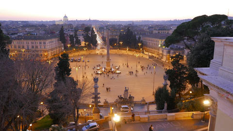Piazza del Popolo at sunset. Twilight. Rome, Italy. 1280x720 Footage