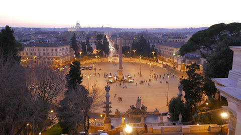 Piazza del Popolo at sunset. Twilight. Rome, Italy. 4K Stock Video Footage