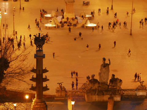 Piazza del Popolo after sunset. Rome, Italy. 640x480 Stock Video Footage