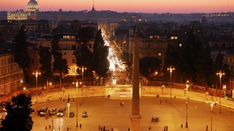 Piazza del Popolo after sunset. Rome, Italy. 4K Stock Video Footage