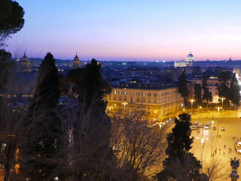 Piazza del Popolo. Evening, Panorama. Rome, Italy. 640x480 Stock Video Footage