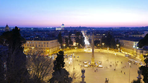 Piazza del Popolo. Evening, Panorama. Rome, Italy Stock Video Footage