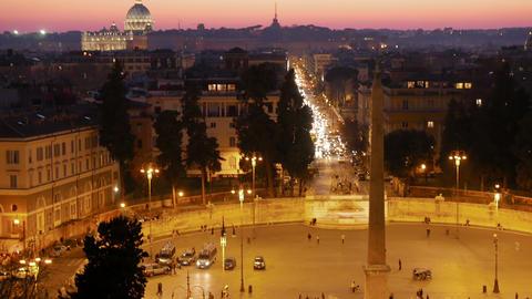 Piazza del Popolo. Rome, Italy. 4K Stock Video Footage