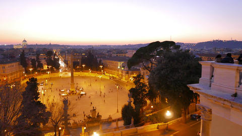 People look at the area. Piazza del Popolo, Rome, Italy - February 18, 2015: In  Footage