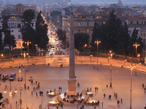 Piazza del Popolo. Egyptian obelisk. Time Lapse. Rome, Italy. 640x480 Footage