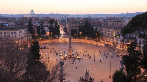 Piazza del Popolo. Time Lapse. Rome, Italy Footage