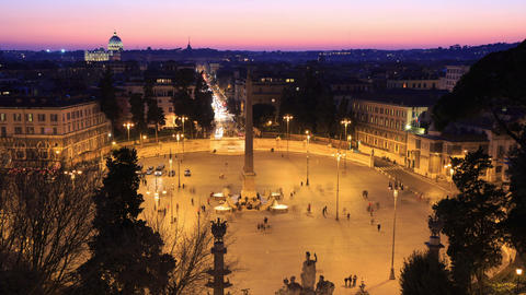 Piazza del Popolo. Time Lapse. Rome, Italy Stock Video Footage