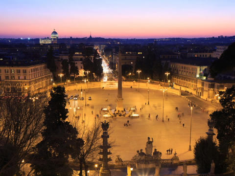 Piazza del Popolo. Zoom. Time Lapse. Rome, Italy. 640x480 Stock Video Footage