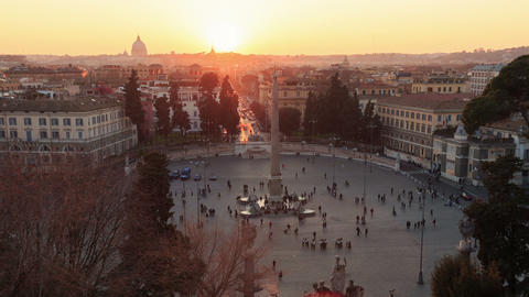 Piazza del Popolo. Zoom. Time Lapse. Rome, Italy Stock Video Footage