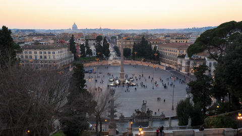 Piazza del Popolo. TimeLapse. Rome, Italy. 1280x720 Stock Video Footage