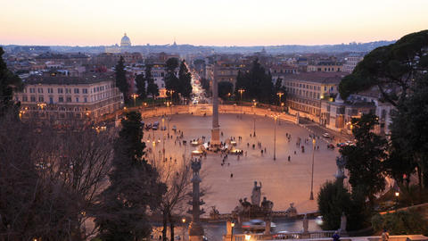 Piazza del Popolo. TimeLapse. Rome, Italy. 1280x720 Footage