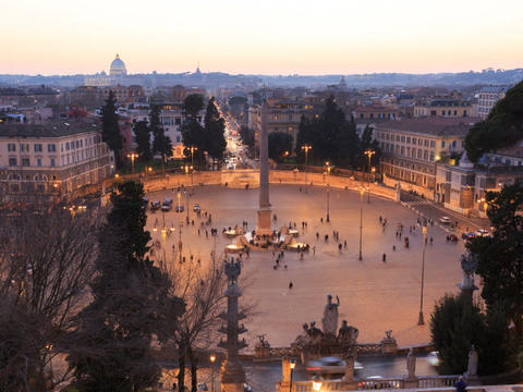 Piazza del Popolo. TimeLapse. Rome, Italy. 640x480 Stock Video Footage