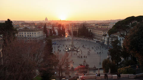 Piazza del Popolo. At sunset. Time Lapse. Rome, Italy. 4K Stock Video Footage