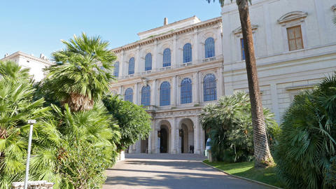 Facade and the park. Palazzo Barberini, Rome, Italy Stock Video Footage