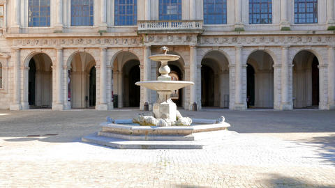 Facade and fountain. Palazzo Barberini, Rome, Italy.... Stock Video Footage