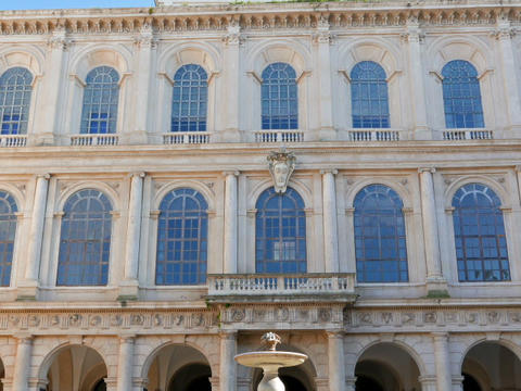 Facade and fountain. Palace Barberini, Rome, Italy. 640x480 Stock Video Footage
