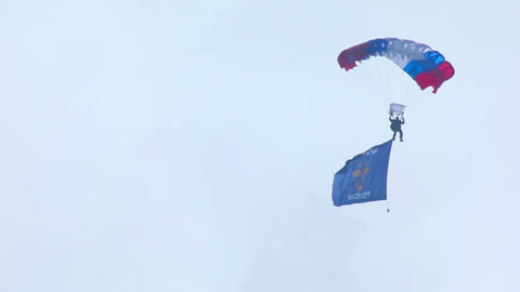 Paratrooper with flag Stock Video Footage