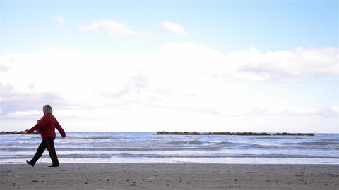 People on the beach 09 Footage