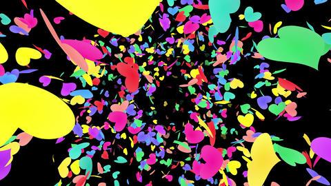 Heart petals rainbow front Ab 4k Stock Video Footage