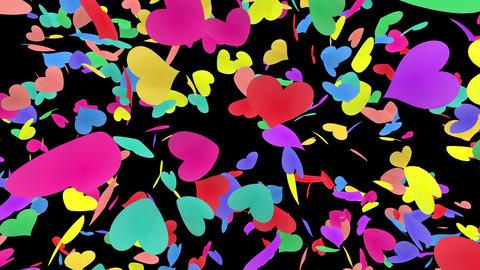 Heart petals rainbow front Db 4k Stock Video Footage