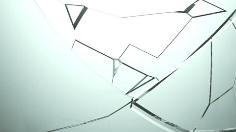 Glass broken and shattered in pieces with slow motion. Alpha Stock Video Footage