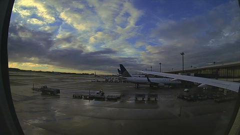 (Timelapse) Tokyo Airport Takeoff Flight Sunset to Black... Stock Video Footage