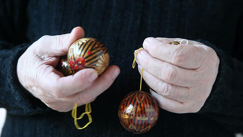 man with Christmas ornaments Stock Video Footage