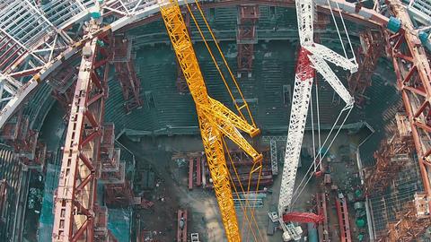 Aerial Shoot Football Stadium Under Construction stock footage
