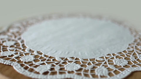 Flower On Lace Doily stock footage
