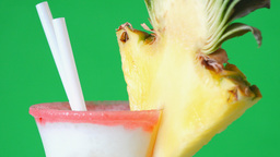 Pina Colada Drink Over Green Background stock footage