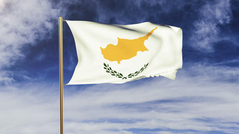 Cyprus flag waving in the wind. Looping sun rises style.... Stock Video Footage