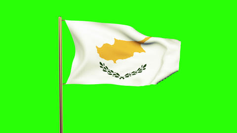 Cyprus flag waving in the wind. Looping sun rises style. Animation loop. Green s Animation