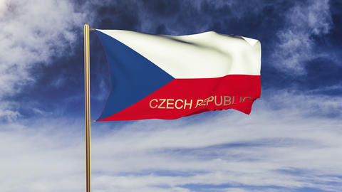 Czech Republic flag with title waving in the wind.... Stock Video Footage