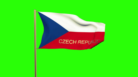 Czech Republic flag with title waving in the wind. Looping sun rises style. Anim Animation