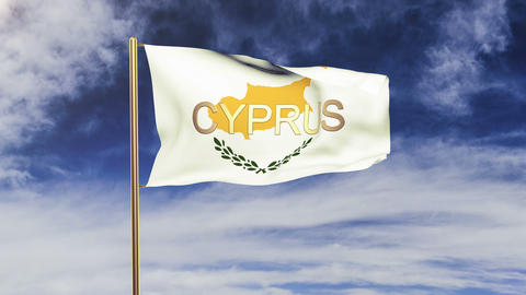 Cyprus flag with title waving in the wind. Looping sun... Stock Video Footage