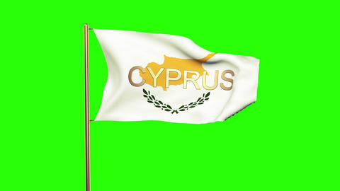Cyprus flag with title waving in the wind. Looping sun rises style. Animation lo Animation