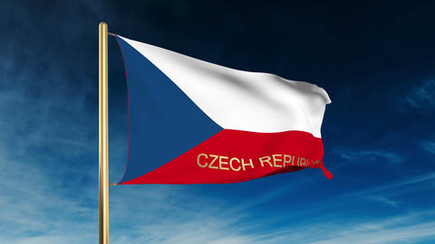 Czech Republic flag slider style with title. Waving in... Stock Video Footage