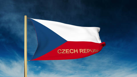 Czech Republic flag slider style with title. Waving in the wind with cloud backg Animation