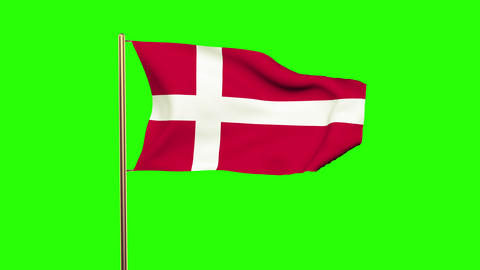 Denmark flag waving in the wind. Looping sun rises style. Animation loop. Green  Animation