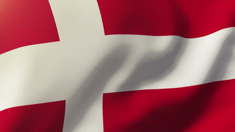 Denmark flag waving in the wind. Looping sun rises style.... Stock Video Footage